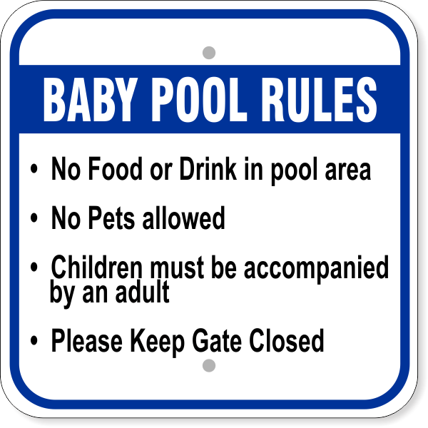"""Baby Pool Rules Aluminum Sign   12"""" x 12"""""""