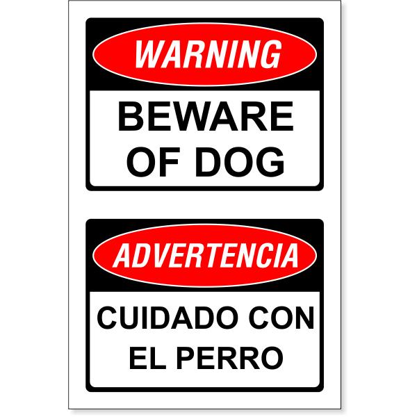 "Bilingual Beware of Dog Decal   6"" x 4"""