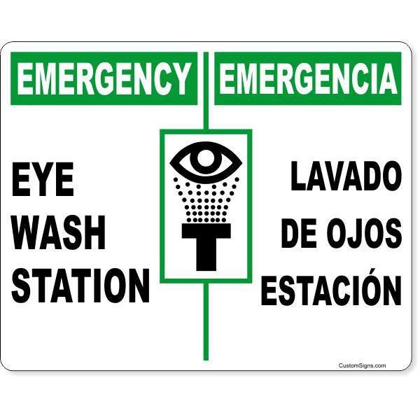 """Bilingual Emergency Eye Wash Full Color Sign   8"""" x 10"""""""