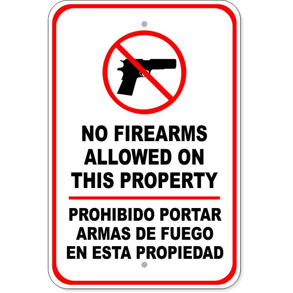 """Bilingual No Firearms Aluminum Sign   18"""" x 12"""""""