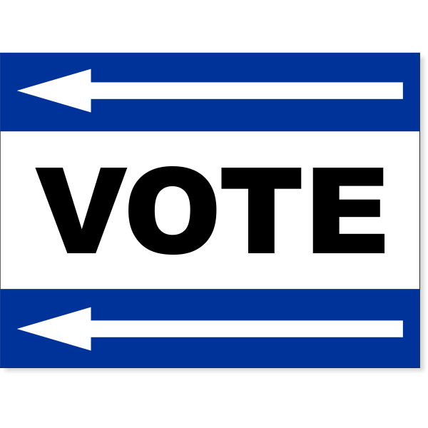 "Blue Vote Left Arrow Yard Sign   18"" x 24"""