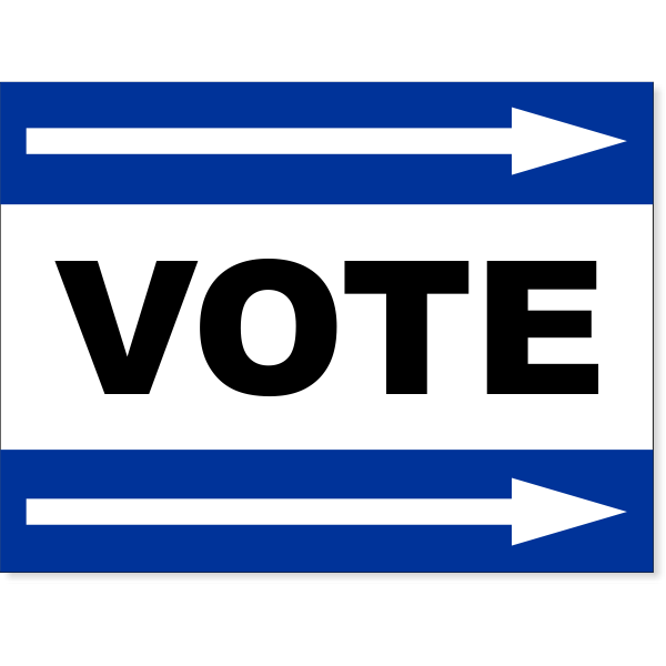 """Blue Vote Right Arrow Yard Sign 