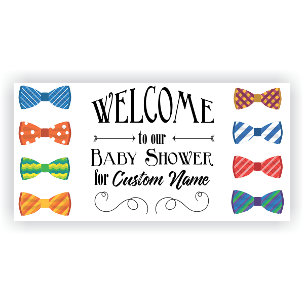 Bow Ties Baby Shower Banner - 3' x 6'