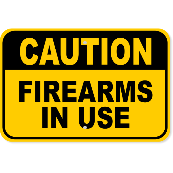 """Caution Firearms in Use Aluminum Sign   12"""" x 18"""""""