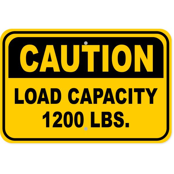 "Caution Load Capacity Custom Pounds Aluminum Sign | 12"" x 18"""