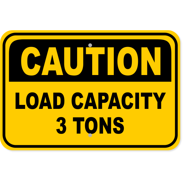 "Caution Load Capacity Custom Tons Aluminum Sign | 12"" x 18"""