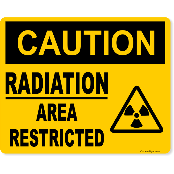 """Caution Radiation Area Restricted Full Color Sign   8"""" x 10"""""""