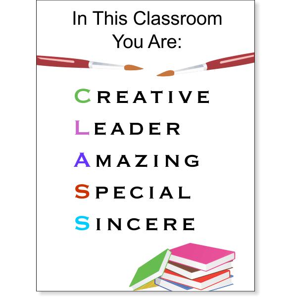 "Creative Leader Amazing Special Sincere - School Sign - 12"" x 18"""