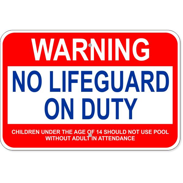 "Custom Age Warning No Lifeguard Aluminum Sign | 12"" x 18"""