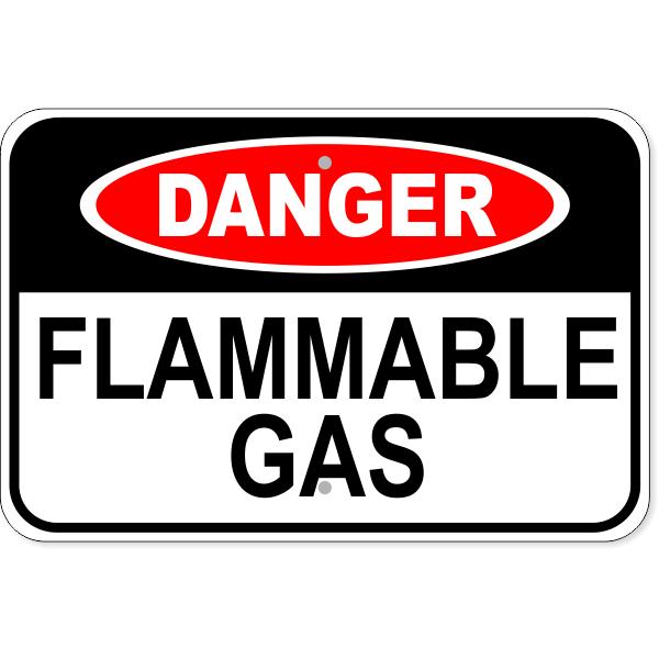 """Danger Flammable Gas Aluminum Sign   12"""" x 18"""""""