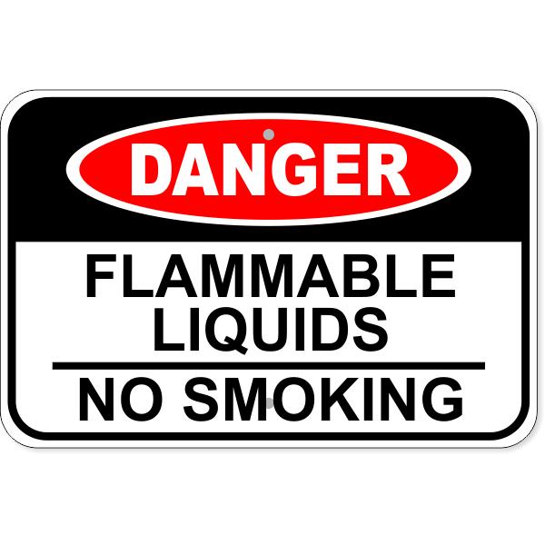 "Danger Flammable Liquids No Smoking Aluminum Sign | 12"" x 18"""