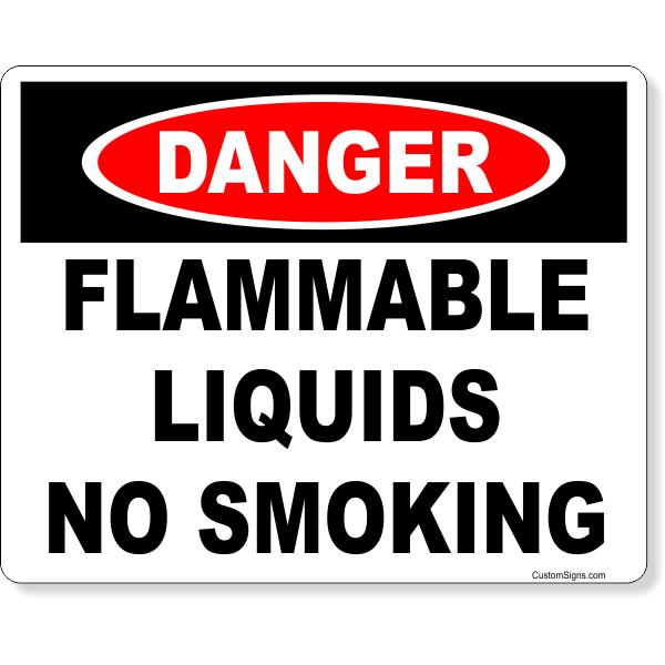 "Danger Flammable Liquids No Smoking Full Color Sign   8"" x 10"""