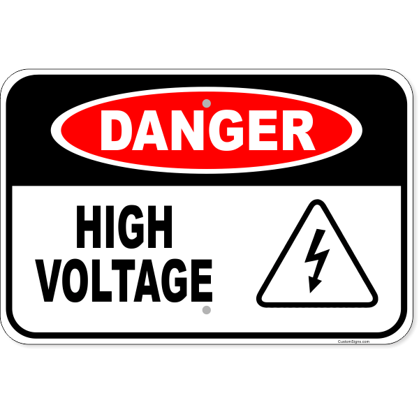"Danger High Voltage Icon Aluminum Sign | 12"" x 18"""