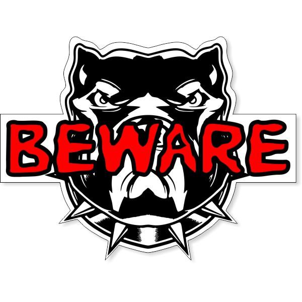 "Dog Beware Contour Cut Decal | 8"" x 10"""