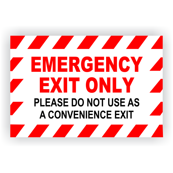 """Emergency Exit Only Vinyl Decal - 6"""" x 9"""""""