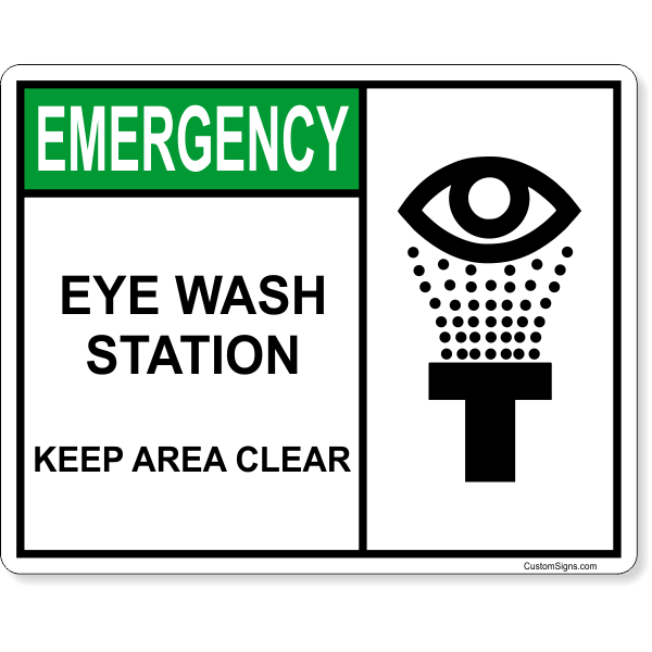 """Eye Wash Station Keep Area Clear Full Color Sign   8"""" x 10"""""""