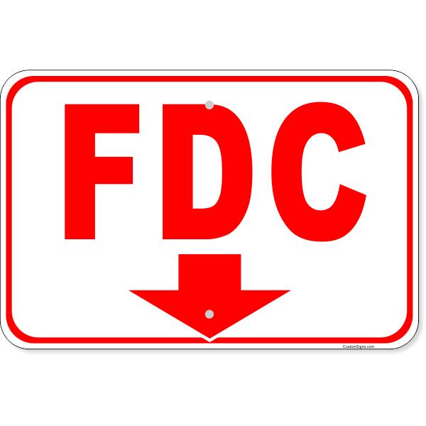 "FDC Down Arrow Aluminum Sign   12"" x 18"""