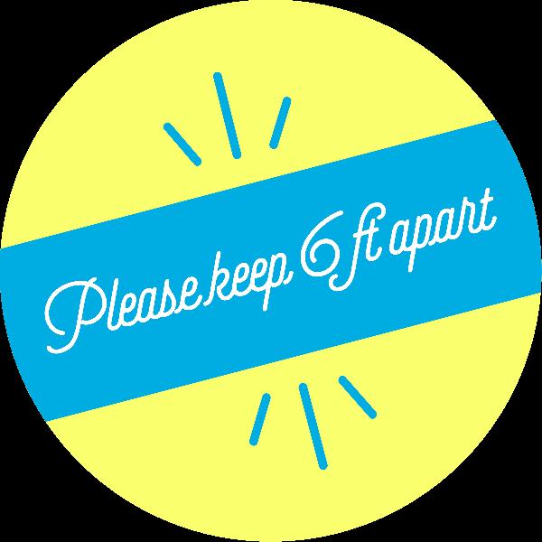 Please Keep 6 Feet Apart Script Set Business Reopening Floor Decal