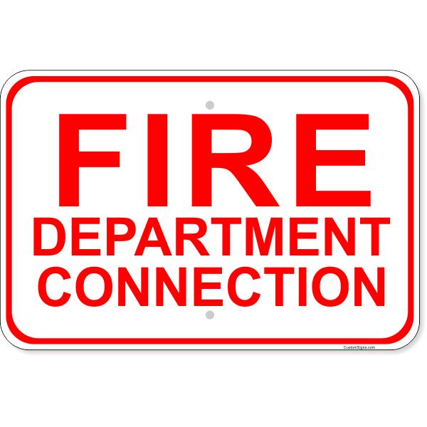 "Fire Department Connection Aluminum Sign | 12"" x 18"""