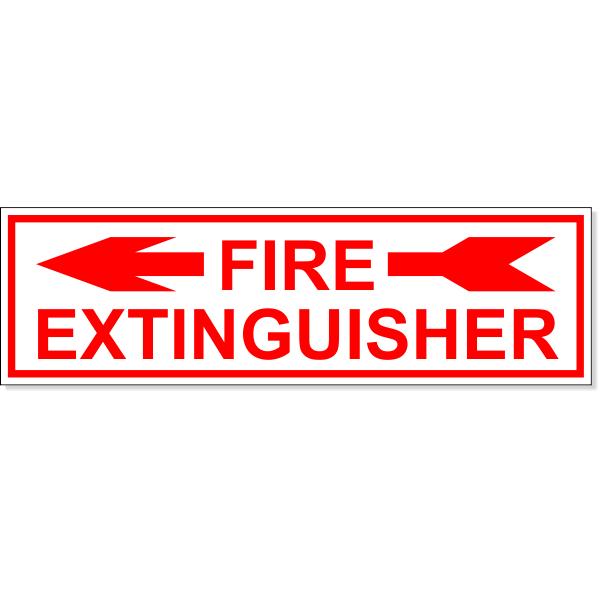 "Fire Extinguisher Left Arrow Engraved Plastic Sign   3"" x 10"""