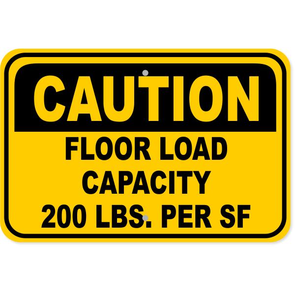 """Floor Load Capacity Custom Square Foot Caution Aluminum Sign   12"""" x 18"""""""