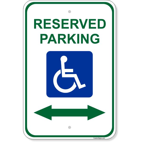 """Handicap Reserved Arrow Aluminum Sign   18"""" x 12"""""""