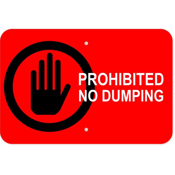 Horizontal Dumping Prohibited Sign