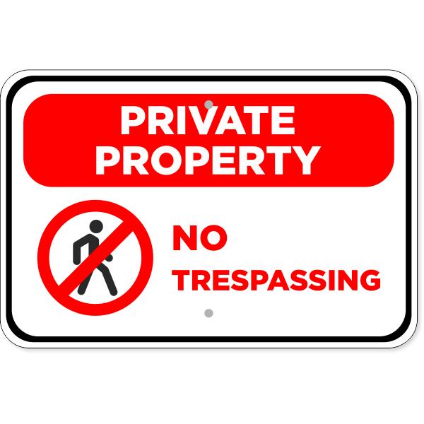 "No Trespassing Private Property Aluminum Sign   12"" x 18"""