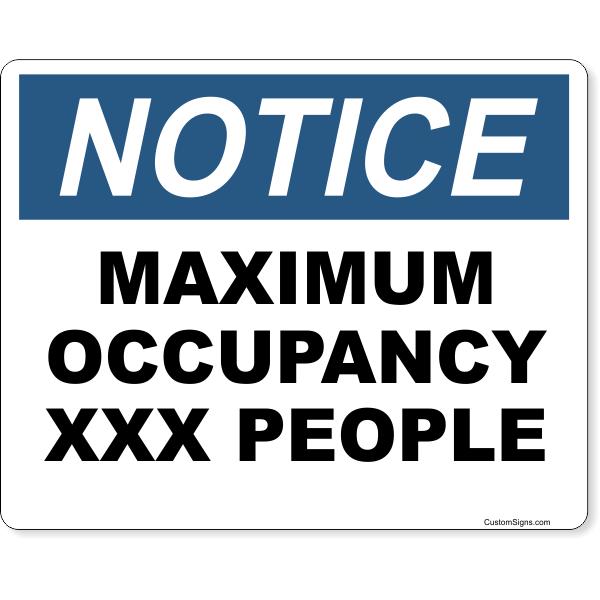 """Notice Maximum Occupancy Full Color Sign   8"""" x 10"""""""