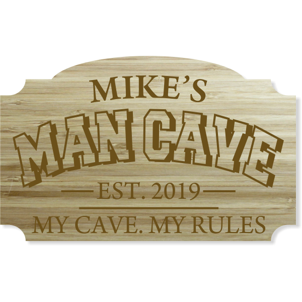 """Personalized Man Cave Engraved Wood Sign 