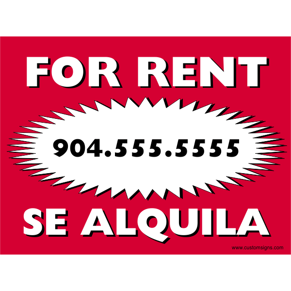 Plastic Bi Lingual Red For Rent Sign
