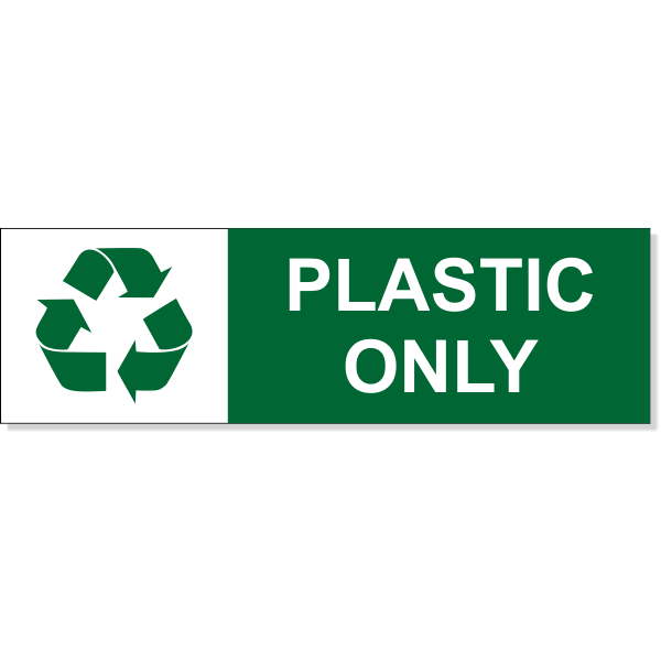 """Plastic Recycle Decal   3"""" x 10"""""""
