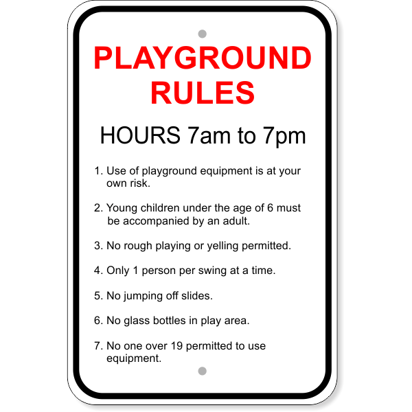 "Playground Rules Aluminum Sign   18"" x 12"""