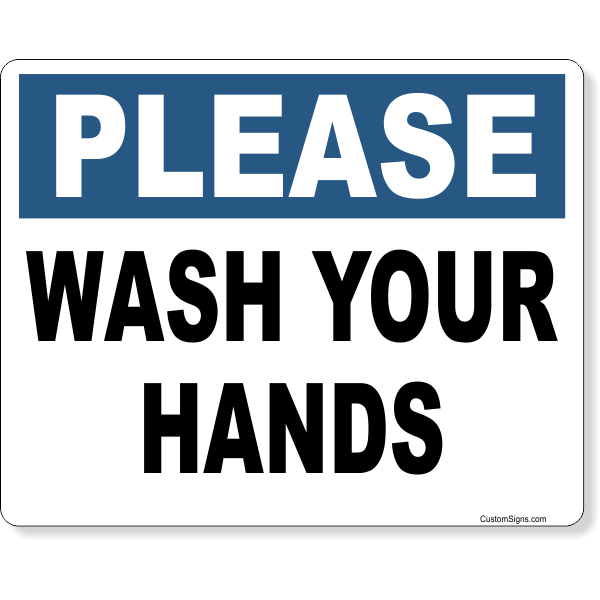 """Please Wash Your Hands Full Color Sign   8"""" x 10"""""""