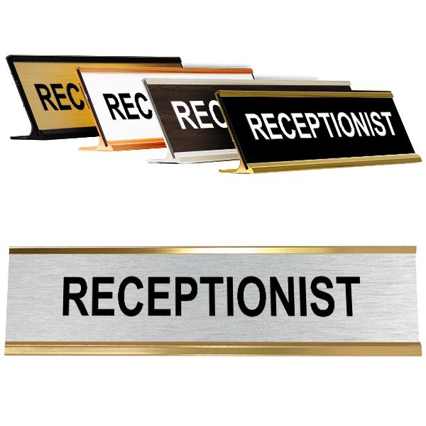 Silver Receptionist Desk Plate
