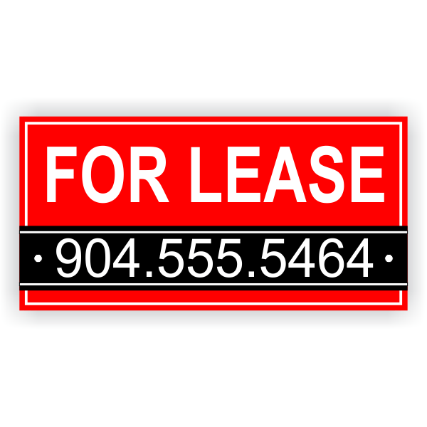 Red Custom Phone Number For Lease Banner   3' x 6'