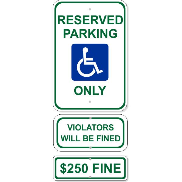 Reserved Handicap Parking Sign Bundle