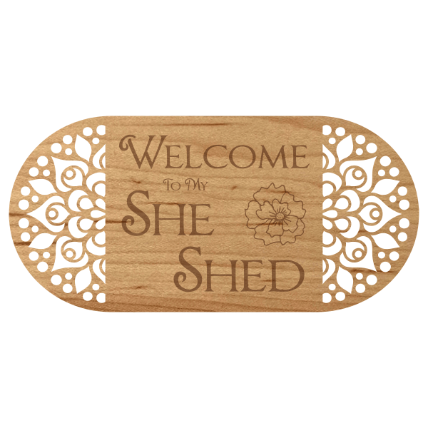 """She Shed Floral Vintage Wooden Sign   6"""" x 12"""""""