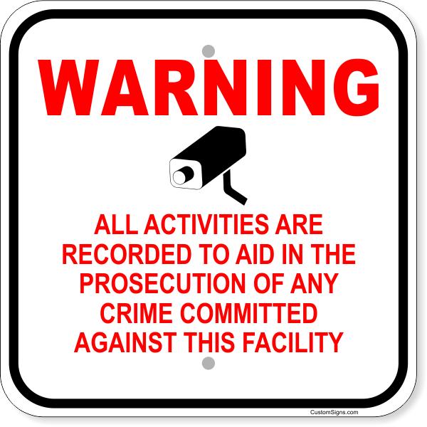 "Warning Video Recorded Aluminum Sign | 12"" x 12"""