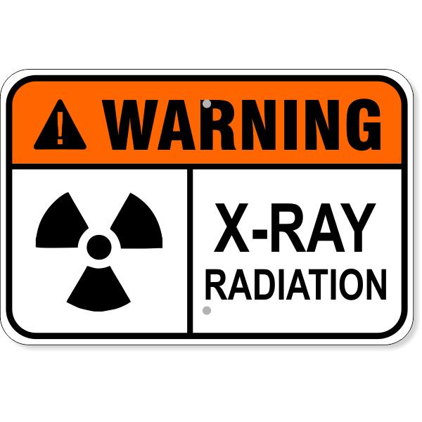"""Warning X-Ray Radiation Aluminum Sign   12"""" x 18"""""""