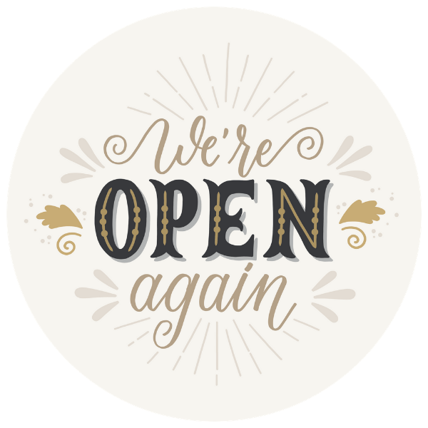 We're Open Again 8 inch Beige Business Reopening Window Decal