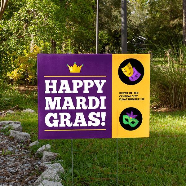 Happy Mardi Gras Social Distance Yard Sign