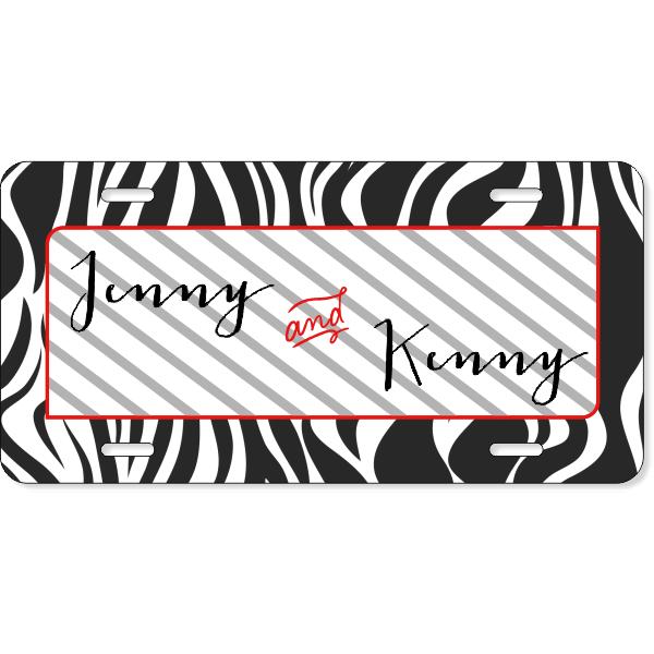 Zebra Print Couples License Plate