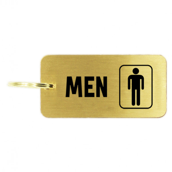 Men's Restroom Icon Brass Key Chain