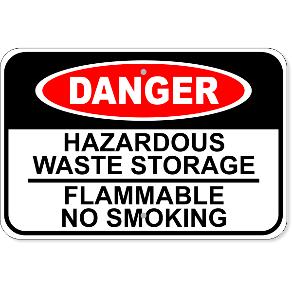 "Danger Hazardous Waste Aluminum Sign   12"" x 18"""