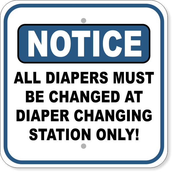 """Diaper Changing Station Aluminum Sign 