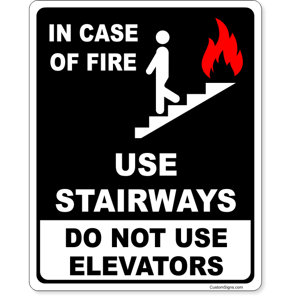 """Do Not Use Elevators In Case of Fire Full Color Sign   10"""" x 8"""""""