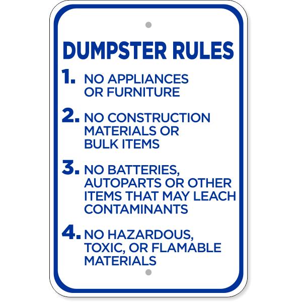 "Dumpster Rules Aluminum Sign | 18"" x 12"""