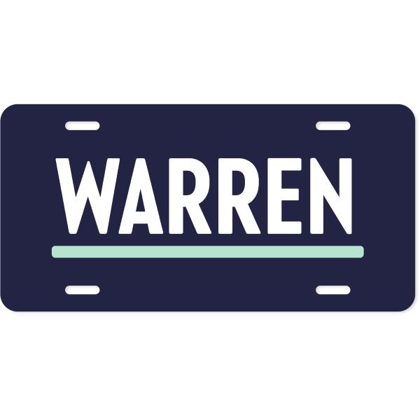 Elizabeth Warren Presidential Campaign License Plate