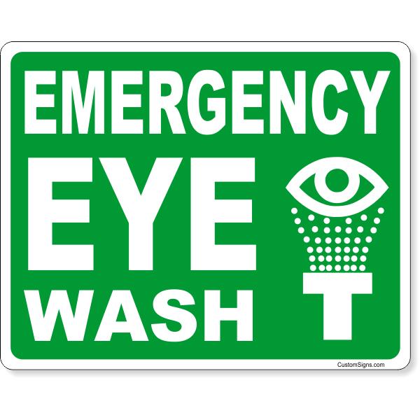 "Emergency Eye Wash Full Color Sign | 8"" x 10"""